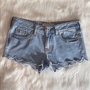 Bullhead Scalloped Low Rise Jean Shorts